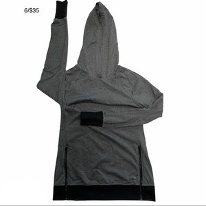 LAYER 8 grey pullover hoodie with black accents